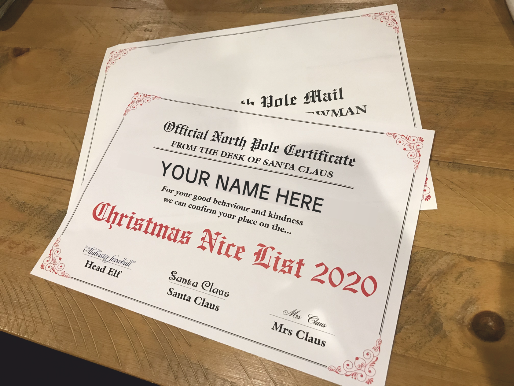 Personalised Nice List Certificate Wraptor Signs